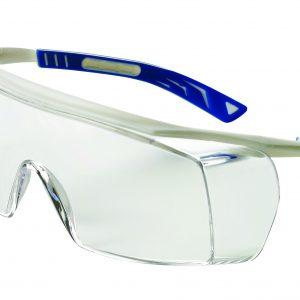 Safety Glasses 5X7 Whi/Blu Frame Clear Lens - DNU