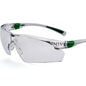 506UP Safety Glasses White/Green Frame Clear Lens - Optident Ltd