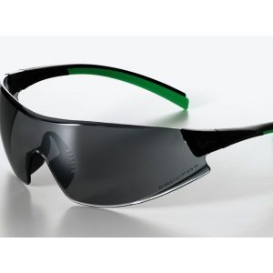 546 Safety Glasses black/green Frame Smoke Lens - Optident Ltd