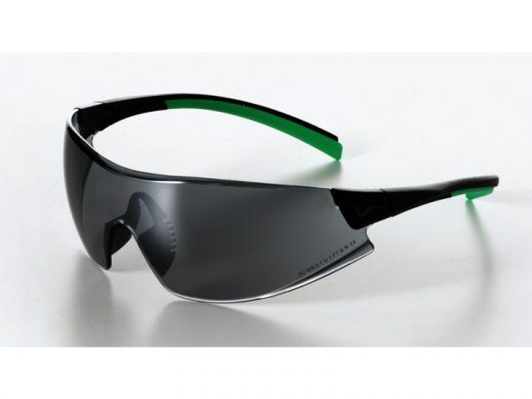 546 Safety Glasses black/green Frame Smoke Lens - Optident Ltd