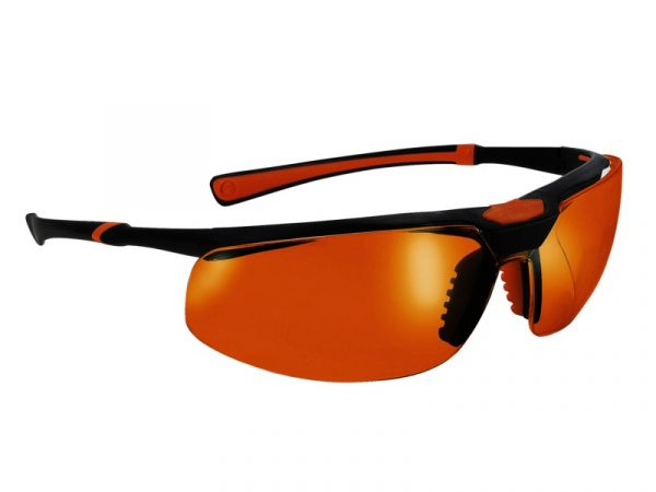 5X3 Safety Glasses Black/Orange Frame Orange Lens - Optident Ltd